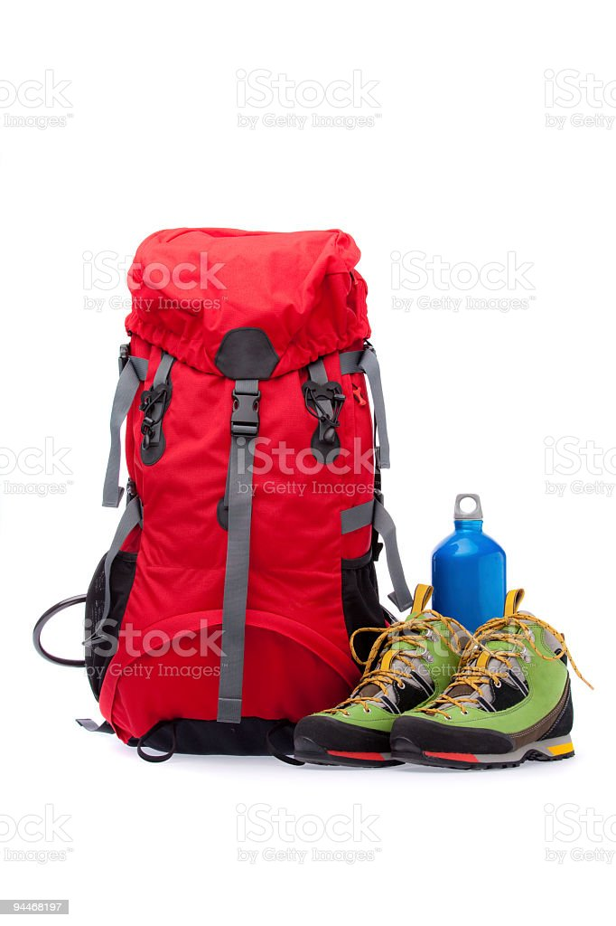 colorful new hiking equipment royalty-free stock photo