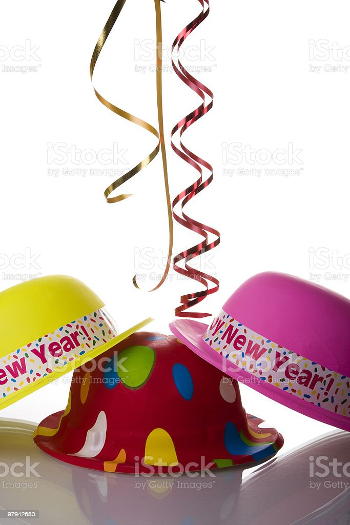 colorful new year hats royalty-free stock photo
