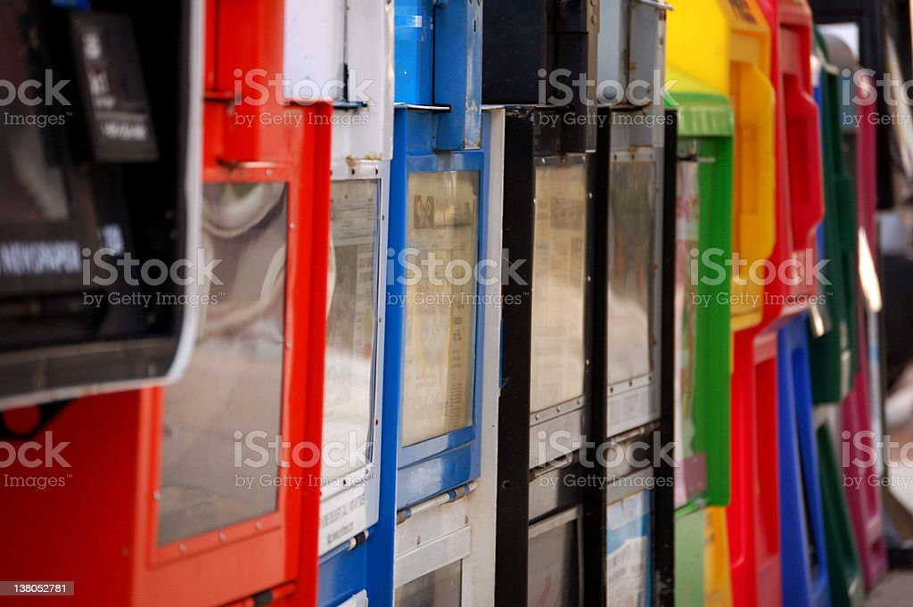 colorful newspaper stands stock photo