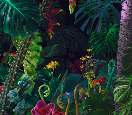 Colorful night jungle background