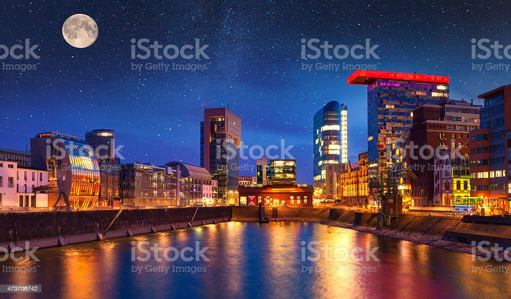 Colorful night scene of Rhein river at night in Dusseldorf - Royalty-free 2015 Stock Photo