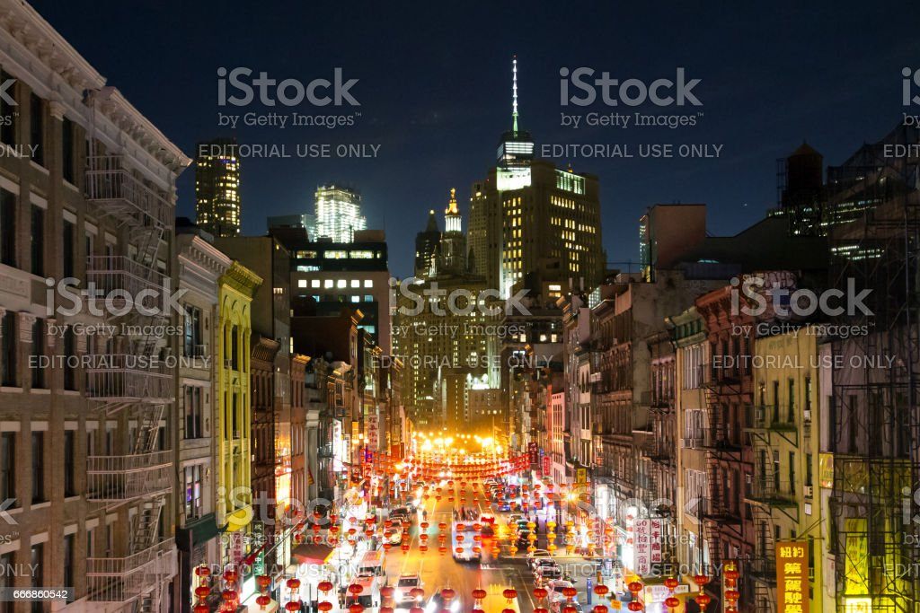 Colorful Night Streets Of Chinatown In New York City Stock Photo Download Image Now Istock