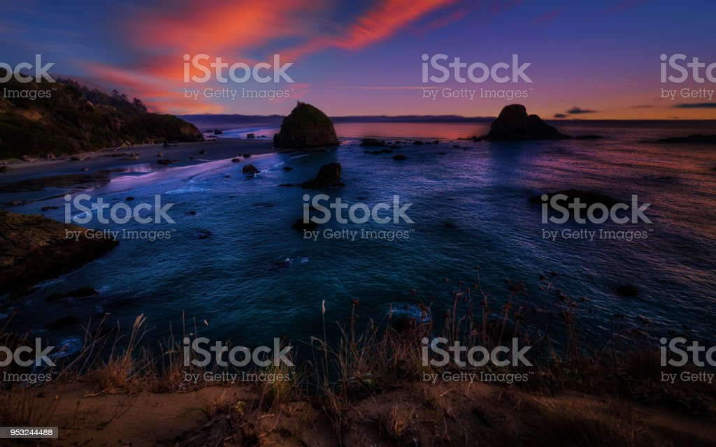 Colorful Northern California Sunset at the Beach stock photo