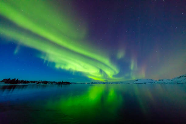 colorful northern lights - finland stock pictures, royalty-free photos & images