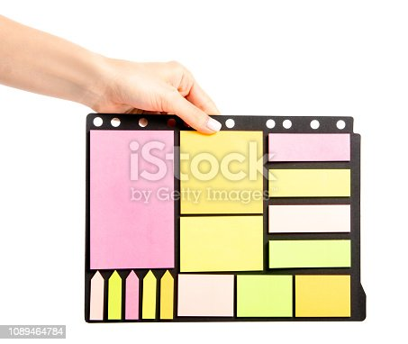 istock Colorful notes paper in hand 1089464784