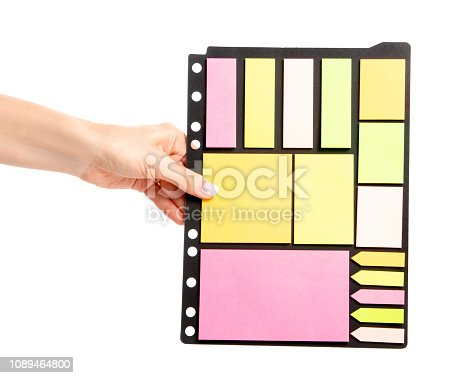 istock Colorful notes paper in hand 1089464800