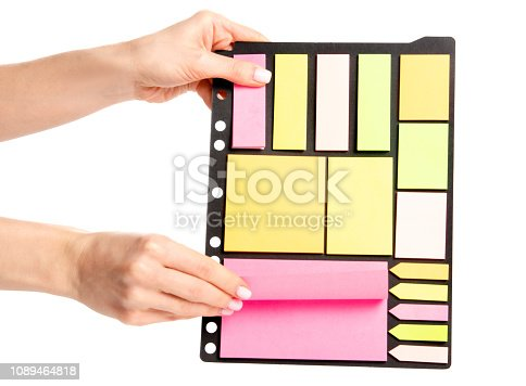 istock Colorful notes paper in hand 1089464818