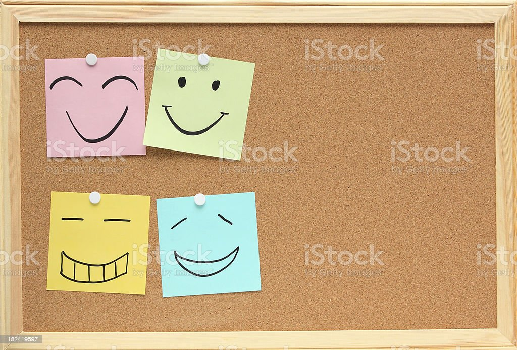 colorful noticeboard drawing smiling face royalty-free stock photo