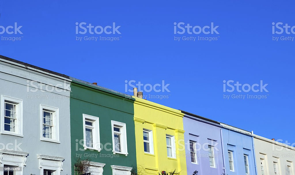 Colorful Notting Hill houses under a blue sky stock photo
