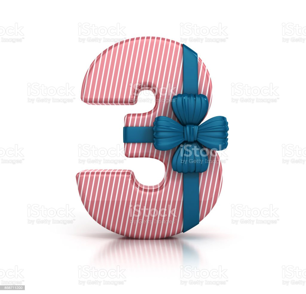 Colorful Number 3 Decorated With Ribbon Isolated On White