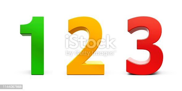 istock Colorful Numbers 1 2 3 1144067868