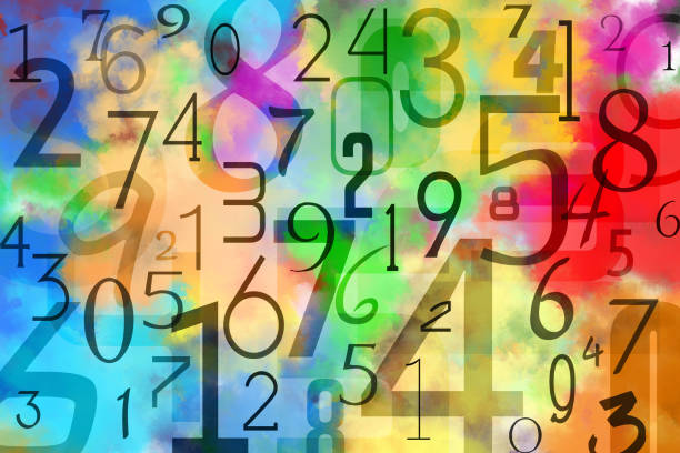 Colorful numbers background Pattern obtained by superimposing black numbers on multicolored background. This is obtained by multiple colors paint watercolor technique on paper. number stock pictures, royalty-free photos & images