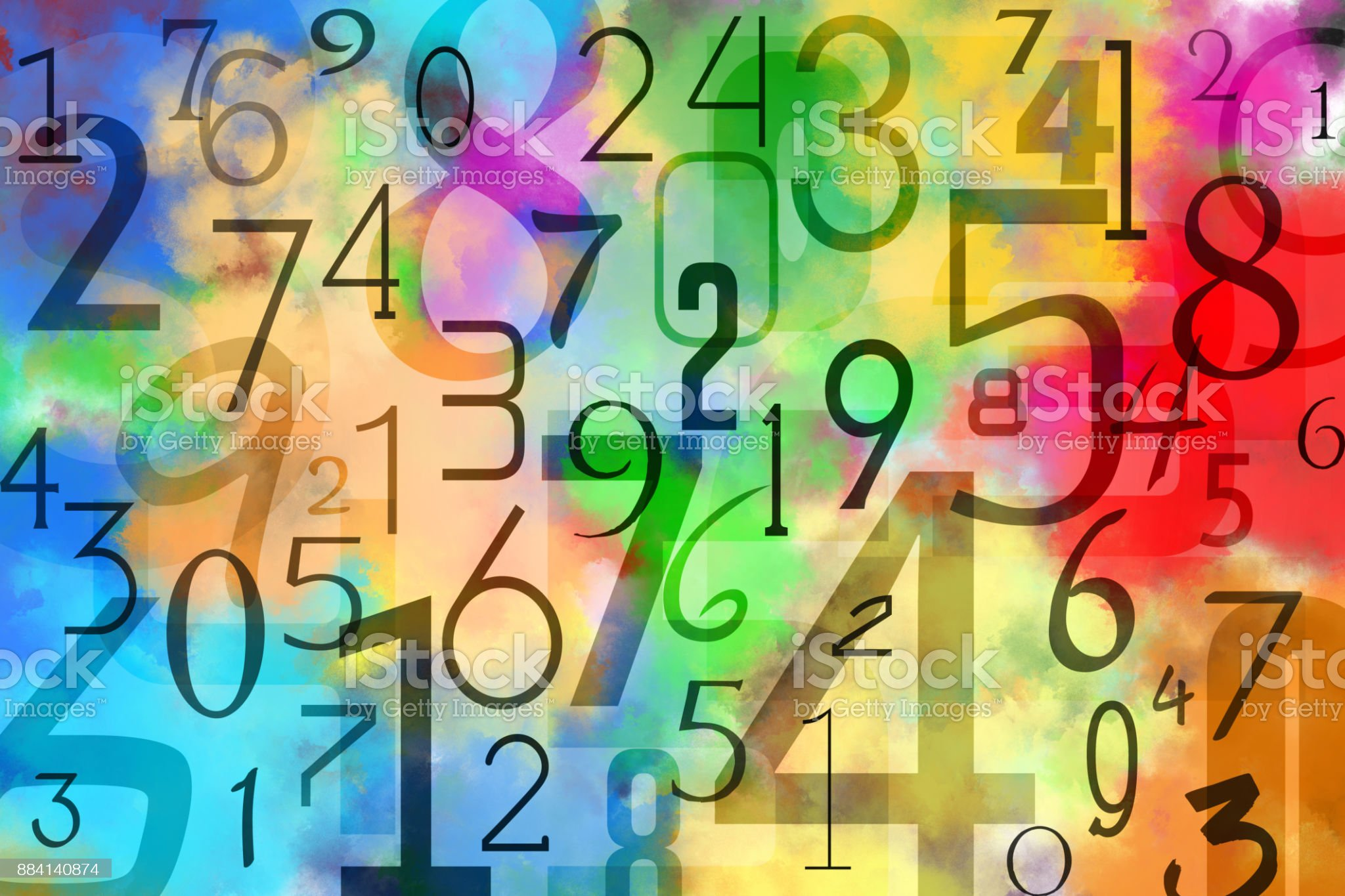 Colorful numbers background Pattern obtained by superimposing black numbers on multicolored background. This is obtained by multiple colors paint watercolor technique on paper. Number Stock Photo