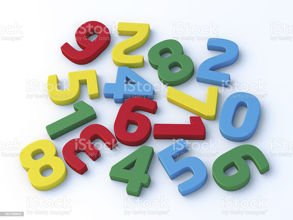 Colorful Numbers Randomly Sorted royalty-free stock photo