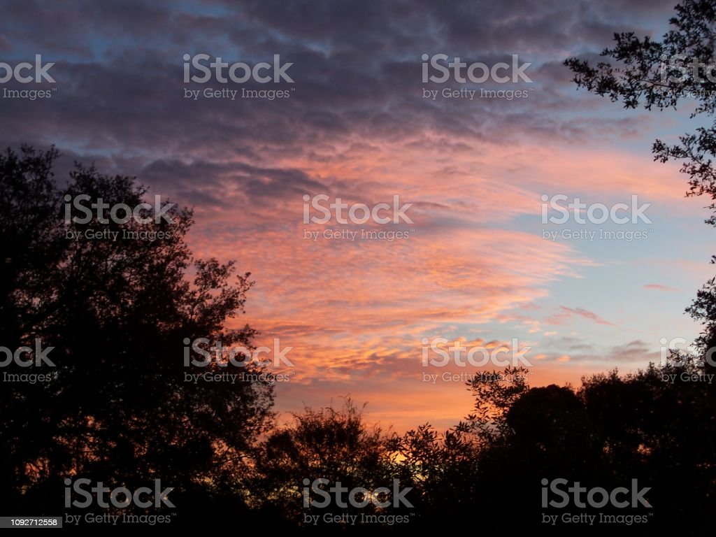 Colorful October sunrise stock photo