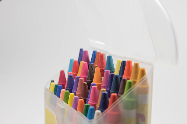 colorful of crayon stock photo