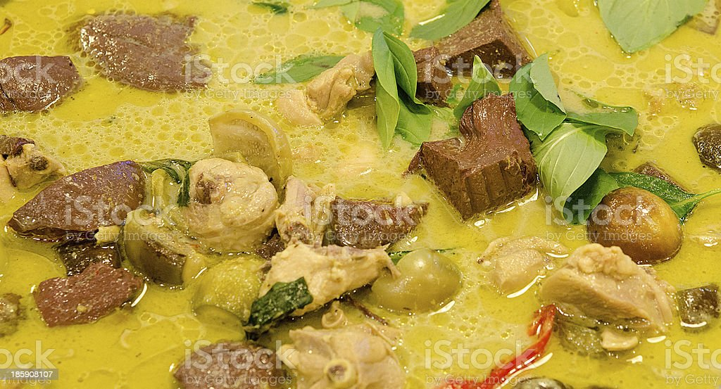 Colorful of green curry with chicken royalty-free stock photo
