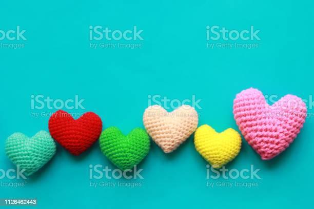 Colorful of handmade crochet heart on blue background for valentines picture id1126462443?b=1&k=6&m=1126462443&s=612x612&h=z6hm6djisuxro5wruz lyq5phov4jczijthhb0tzzr8=