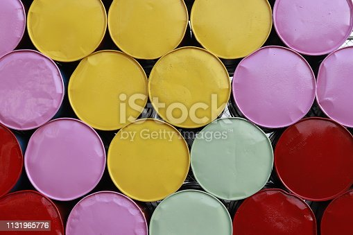 Colorful of old gas tanks.