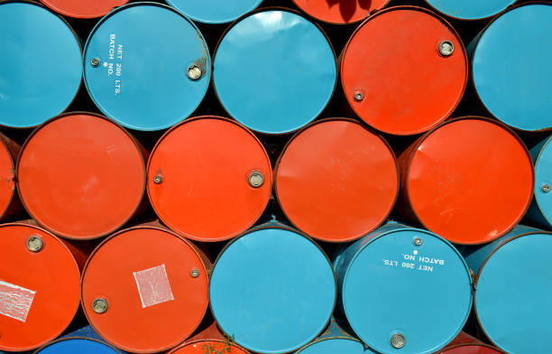 colorful of old gas tanks. stock photo