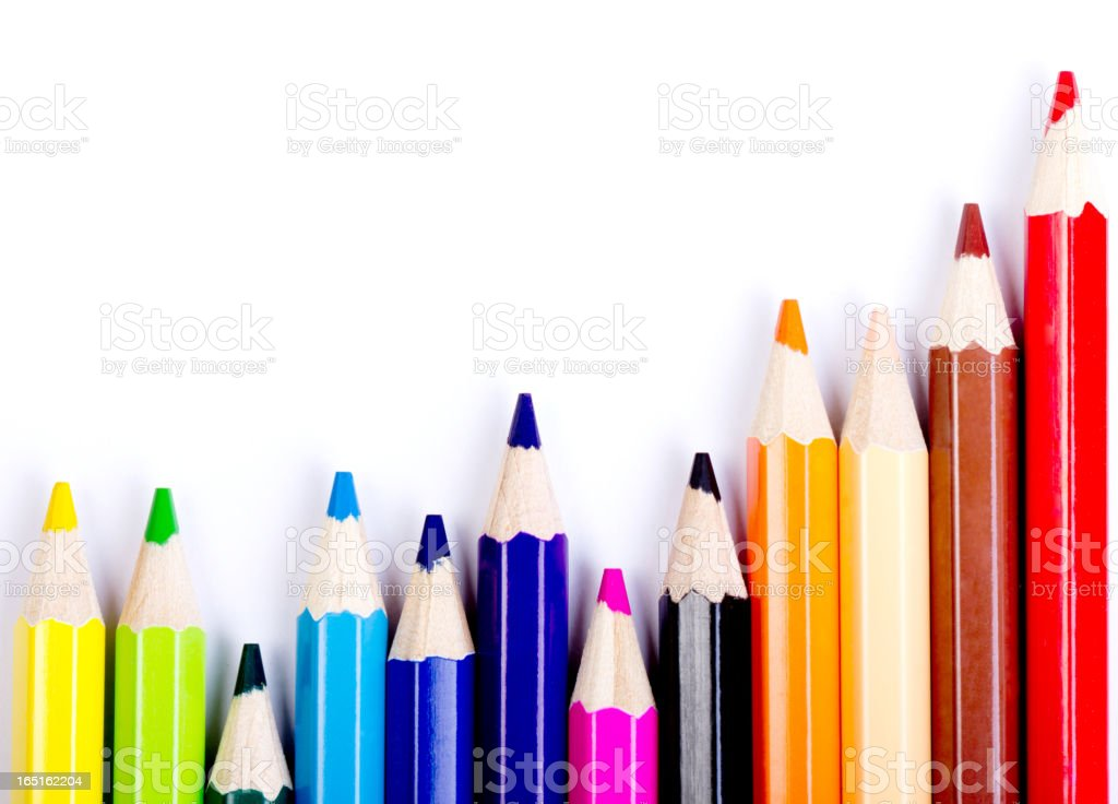 Colorful of pencils in concept all for one royalty-free stock photo