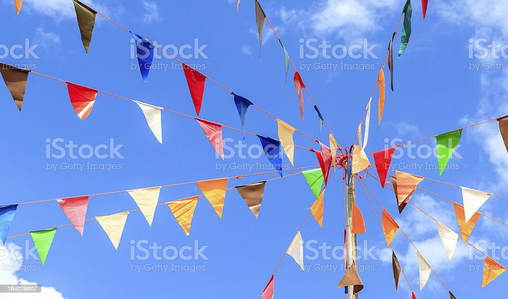 Colorful of pennants stock photo