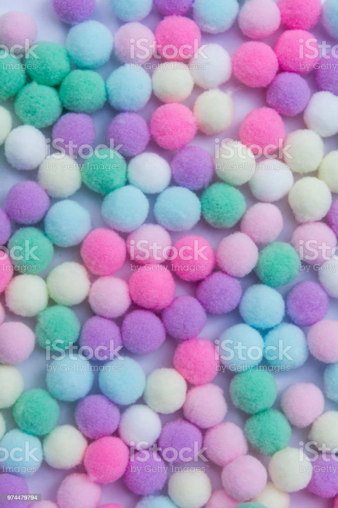 A colorful of Pom Pom background stock photo