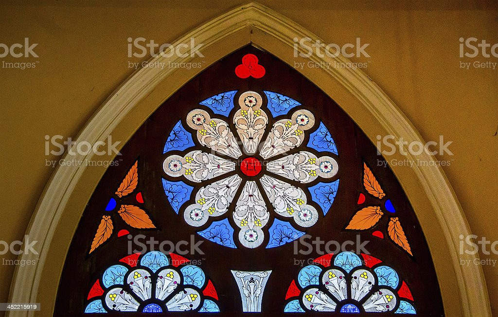 Colorful of stained glass in church royalty-free stock photo