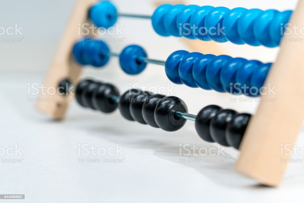 Colorful of wood abacus, selective focus. stock photo