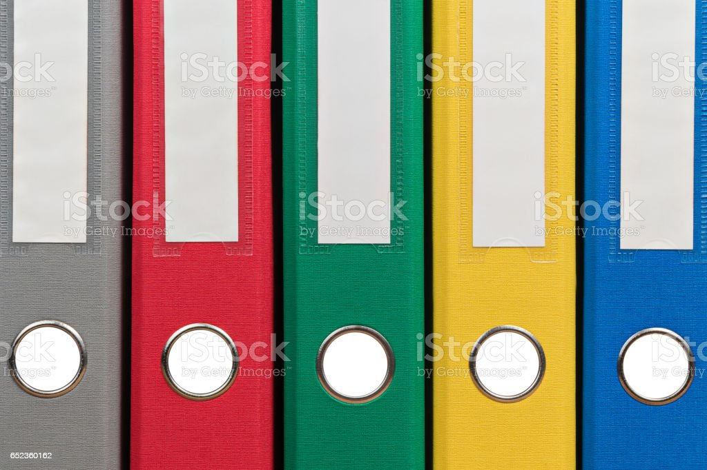 Colorful office folders as background stock photo