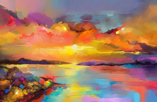 bunte gemälde ölgemälde auf leinwandtextur. impressionismus bild gemälde seelandschaft mit sonnenlicht hintergrund. - ozean kunst stock-fotos und bilder