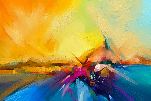 istock Colorful oil painting on canvas texture. 941893050