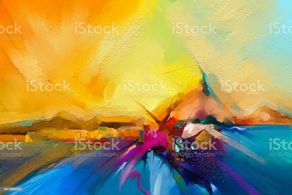 Colorful oil painting on canvas texture. stock photo