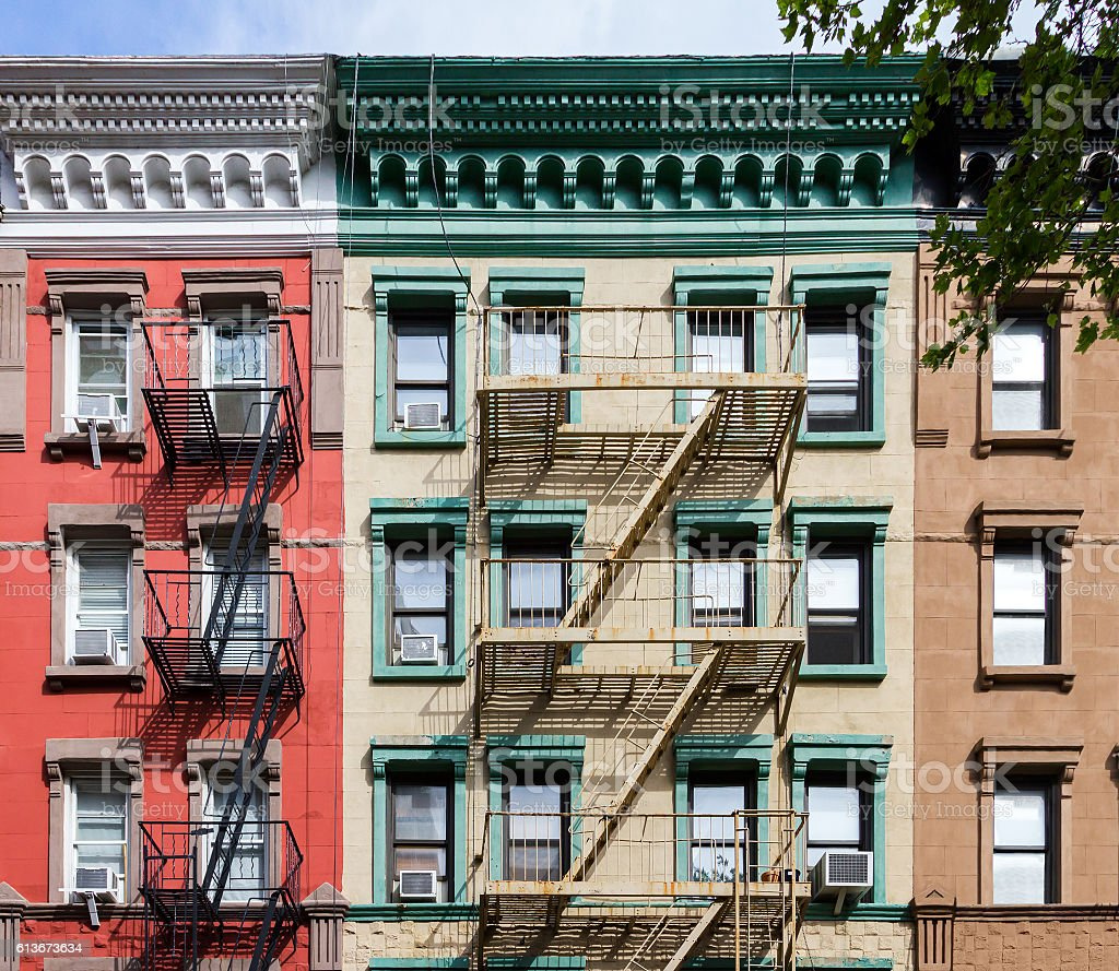 Colorful Old Apartment buildings in New York City stock photo