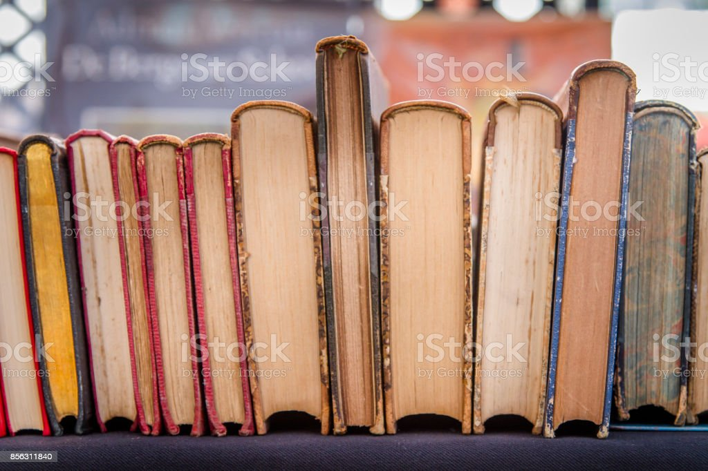 Colorful old books stock photo