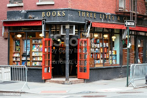 New York City, USA - June 22, 2018: Three Lives and Co bookstore in Greenwich Village. Exterior view