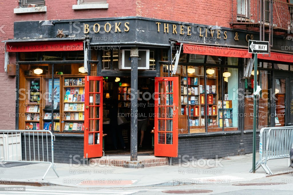 Colorful old bookstore in Greenwich Village NYC stock photo