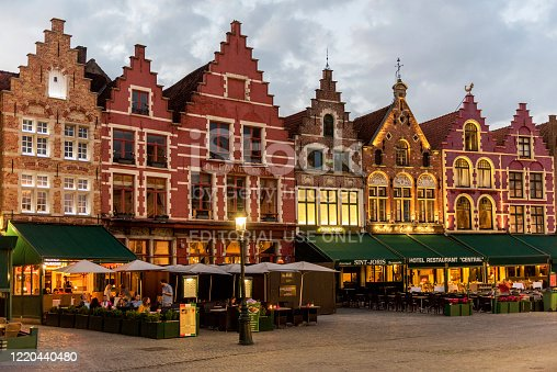 istock Colorful old buildings and restaurants in Bruges, Belgium 1220440480