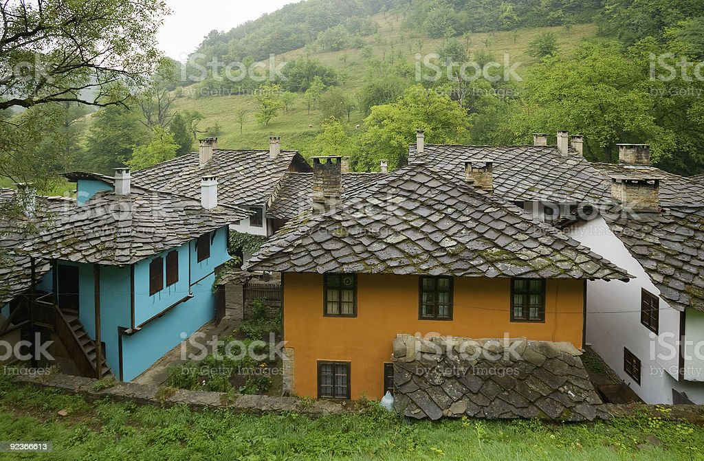 Colorful old Bulgarian Renaissance houses royalty-free stock photo