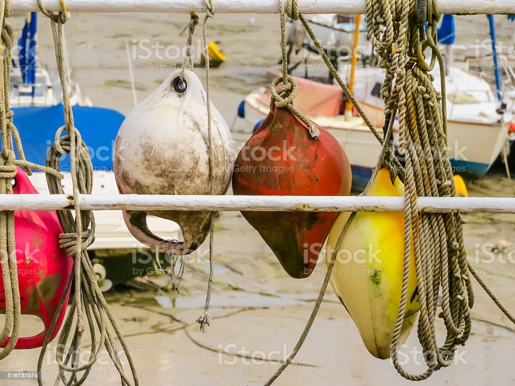 Colorful old buoys stock photo