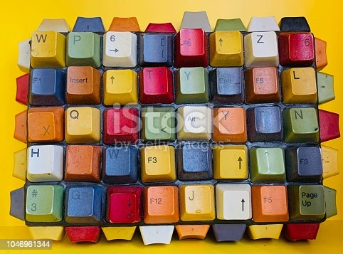 Colorful old computer keyboard