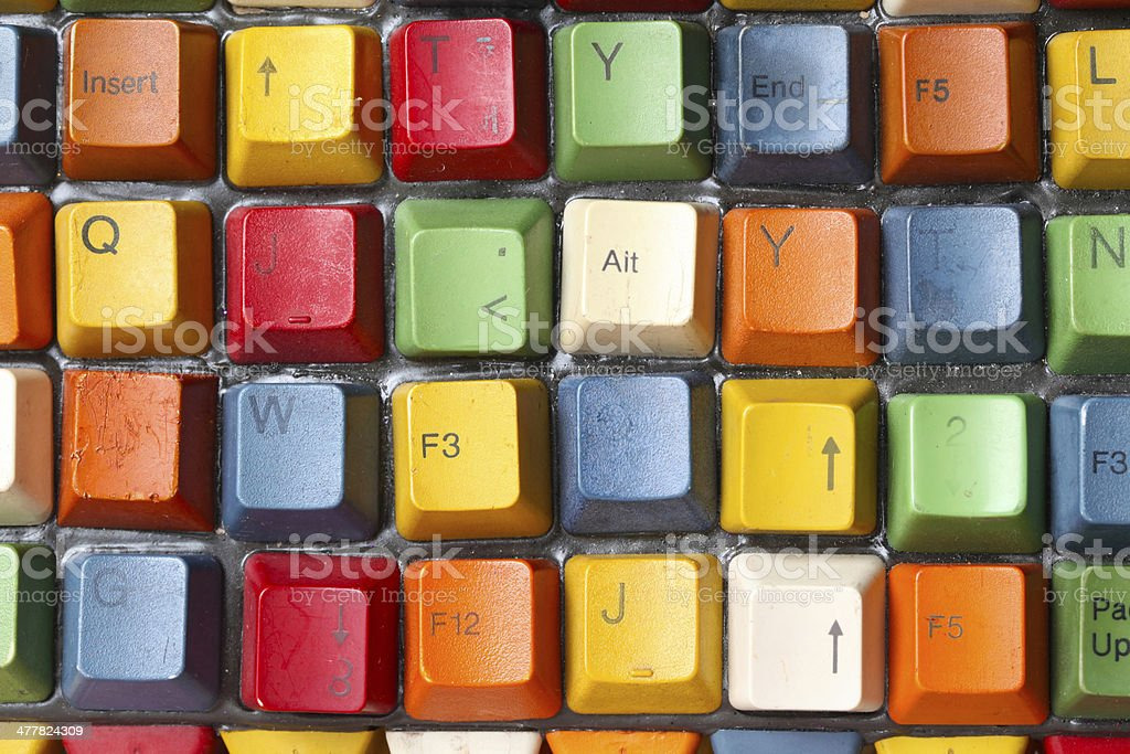 Colorful old confused computer keyboard royalty-free stock photo