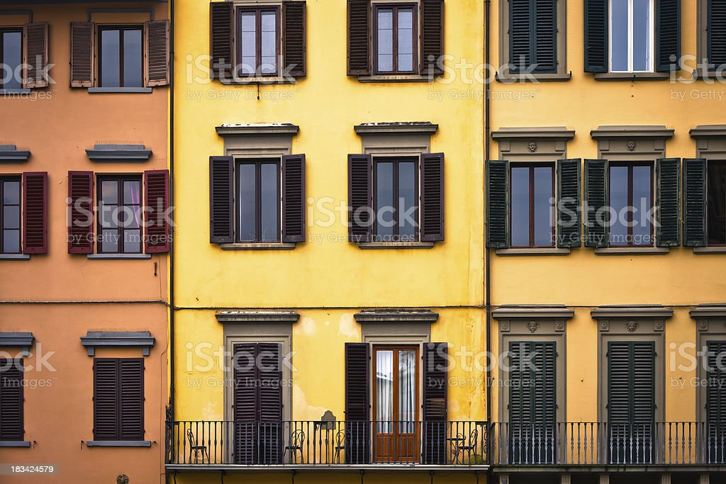 Colorful Old Residential Facades in Firenze, Italy royalty-free stock photo