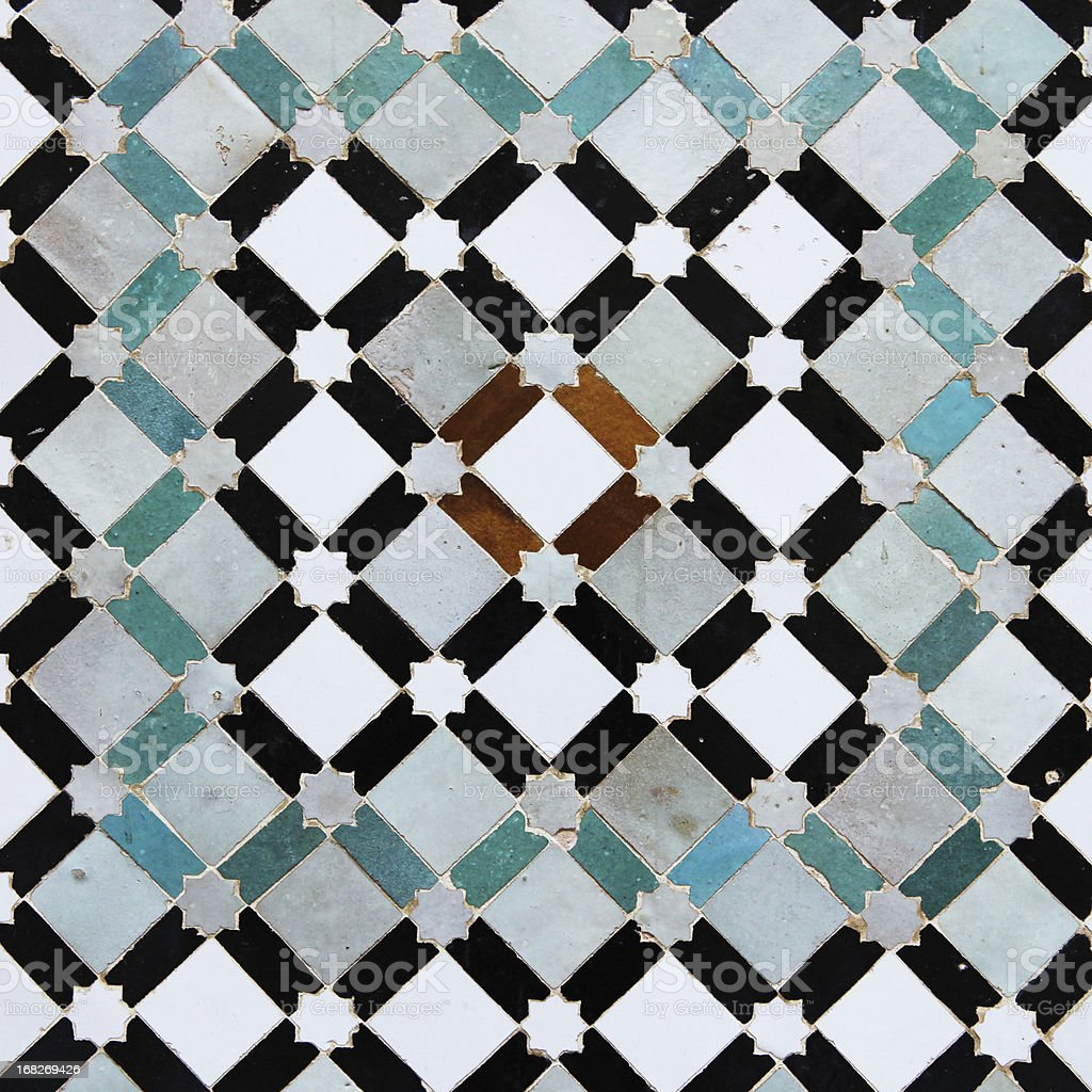 Colorful old tiles from Meknes medina in Morocco stock photo