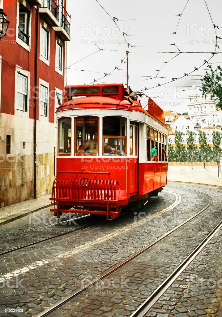 Colorful Old tram of Lisbon stock photo