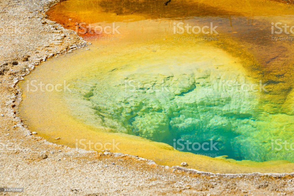 Colorful orange blue Belgian Pool located in the Old Faithful area of Yellowstone National Park, Wyoming stock photo
