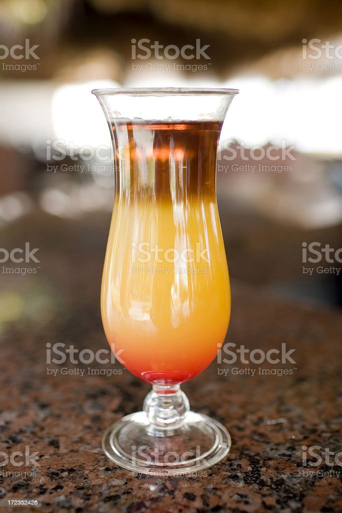 Colorful Orange Cocktail on Tropical Outdoor Bar, Nobody, Copy Space stock photo
