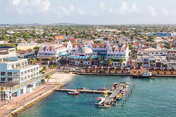 colorful oranjestad aruba - aruba stockfoto's en -beelden