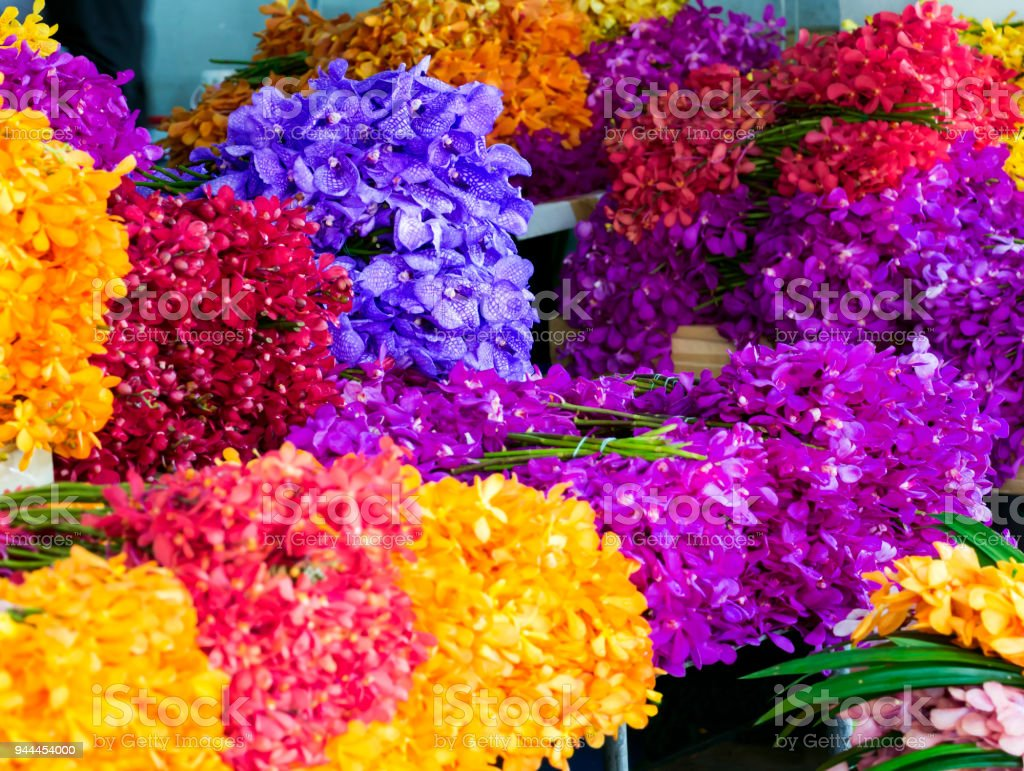 Colorful Orchids Flowers Bouquet In Flower Shop Selling Variety Of