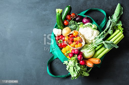 Colorful organic vegetables in green eco shopping bag - captured from above (top view, flat lay). Black chalkboard (blackboard) as background. Layout with free text (copy) space.